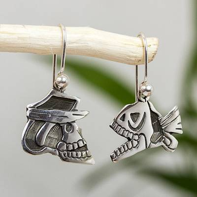 Sterling silver dangle earrings, 'Skull and Fish' - Unique Women's Sterling Silver Dangle Sea Life Earrings