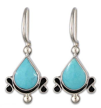 Turquoise and Sterling Silver Drop EarringsMexico
