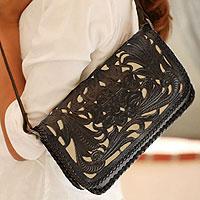 Leather shoulder bag, 'Chrysanthemum' - Hand Tooled Mexican Leather Shoulder Bag