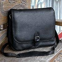 Leather briefcase, 'Executive Elegance' - Black Leather Briefcase Handmade in Mexico