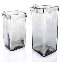 Blown glass wall planters, 'Ice Cubes' (pair) - Handblown Glass Clear Garden Decor Planters (Pair)