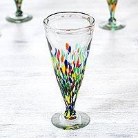 Beer glasses, 'Multicolor Specks' (set of 6) - Handblown Recycled Glass Stemware