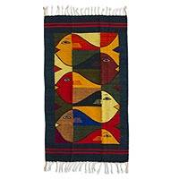 Zapotec wool rug, Fish Fiesta (2x3.5) - Modern Zapotec Wool Rug 2 X 3 Ft Handmade in Mexico