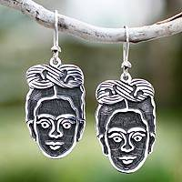 Sterling silver dangle earrings, 'Frida Kahlo' - Hand Crafted Taxco Sterling Silver Dangle Earrings
