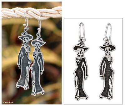Sterling silver dangle earrings, 'Catrina Chic' - 925 Sterling Silver Mexico Day of the Dead Earrings