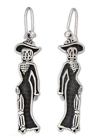 925 Sterling Silver Mexico Day of the Dead Earrings