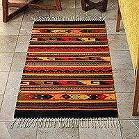 Zapotec wool rug, Color Fiesta (2.5x5) - Handmade Zapotec Wool Area Rug (2.5x5)