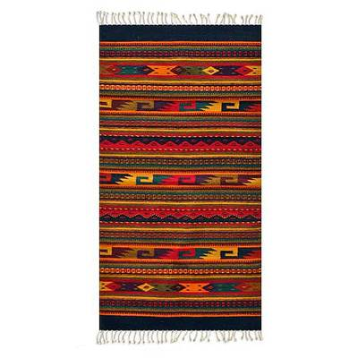 Zapotec wool rug, 'Color Fiesta' (2.5x5) - Handmade Zapotec Wool Area Rug (2.5x5)