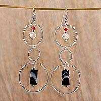 Cultured pearl and agate drop earrings, 'Balance' (Mexico)