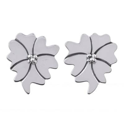 Handcrafted Sterling Silver Flower Button Earrings from Novica Mexico