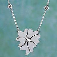 Necklace, 'Moon Flower' - Necklace