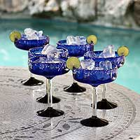Margarita glasses, 'Acapulco' (set of 6) - Hand Blown Margarita Glasses Set of 6 Cobalt Blue Mexico