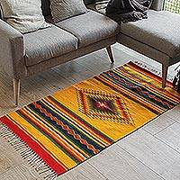 Zapotec wool rug, Summer Sun (2.5x5) - Hand Made Zapotec Wool Area Rug (2.5x5)