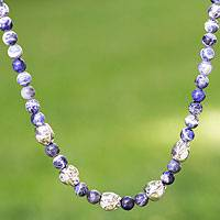 Sodalite necklace, 'Sterling Bud' - Sodalite necklace