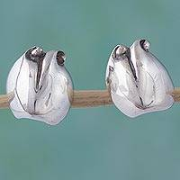 Sterling silver button earrings, 'Sterling Buds' - Hand Made Floral Sterling Silver Button Earrings
