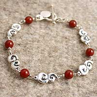 Carnelian charm bracelet, 'Cloud Fire' (Mexico)