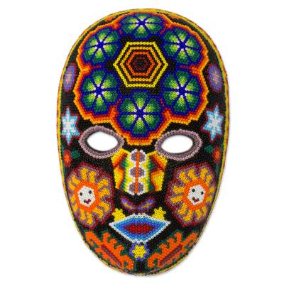 Unique Huichol Beaded Mask with Peyote