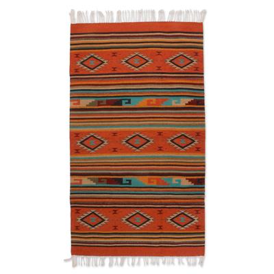 Handmade Wool Area Rug Geometric Design (4x6)