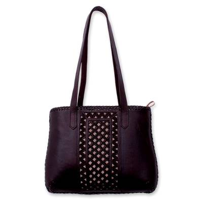 Leather handbag, 'Carolina' - Handcrafted Leather Shoulder Bag from Mexico