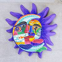 Ceramic wall adornment, 'Mexican Eclipse' - Ceramic wall adornment