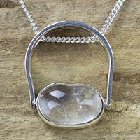 Quartz pendant necklace, 'Sterling Aura' - Quartz pendant necklace