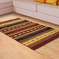 Zapotec wool rug, 'Dainzu Earth' (2.5x5) - Zapotec wool rug (2.5x5)