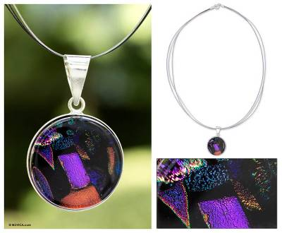 Dichroic art glass pendant necklace, Blue Kaleidoscope
