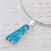 Dichroic art glass jewelry set, 'Turquoise Pyramid' - Modern Art Glass Pendant Jewelry Set from Mexico