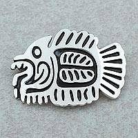 Sterling silver brooch pin pendant Aztec Fish Fossil (Mexico)