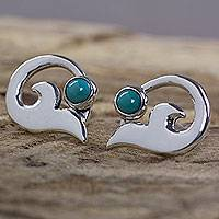Turquoise button earrings, 'Silver Lilies' - Fair Trade Women's Taxco Silver and Turquoise Earrings