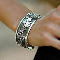 Sterling silver cuff bracelet, 'Promises'