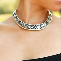Sterling silver choker, 'Promises' - Taxco Silver Choker Handmade in Mexico