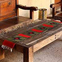 Zapotec wool table runner, 'Ancestors Paths' (1x5) - Zapotec wool table runner (1x5)