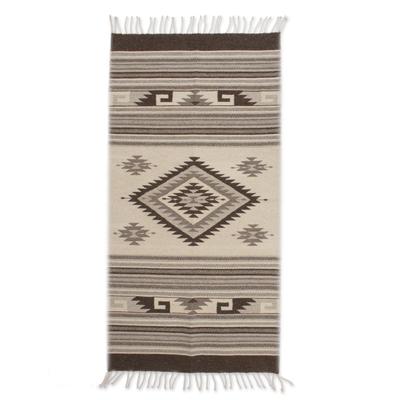 Diamond Sun Handloomed Zapotec Rug 2.5 X5 Mexico