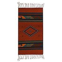 Zapotec wool rug, 'Path of Fire' (2x3.5) - Zapotec wool rug (2x3.5)