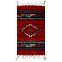 Zapotec wool rug, 'Path of Fire' (2.5x5) - Handcrafted Zapotec Rug (2.5x5)