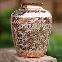 Copper and silver vase, 'Wild Rose' - Copper and silver vase