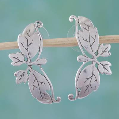 Sterling silver drop earrings, 'Butterfly Romance' - Sterling Silver Drop Earrings from Mexico