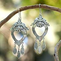 Sterling silver dangle earrings, 'Empress' - Sterling Silver Chandelier Earrings from Mexico