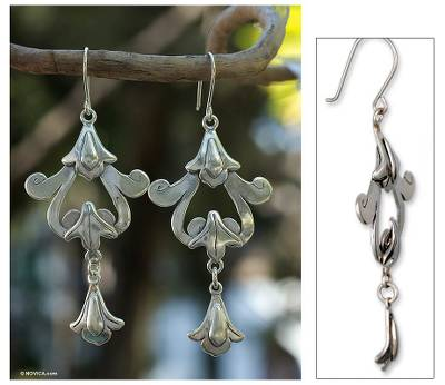 Sterling silver dangle earrings, 'Colonial Chimes' - Sterling silver dangle earrings
