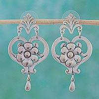 Sterling silver dangle earrings, 'Daisy Hearts' - Hand Crafted Floral Sterling Silver Dangle Earrings