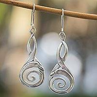 Sterling silver dangle earrings, 'Silver Swan' - Unique Sterling Silver Abstract Bird Earrings from Mexico