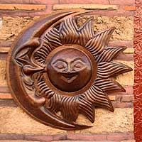 Copper wall sculpture, 'Joyous Eclipse' - Handcrafted Sun and Moon Copper Wall Art Sculpture