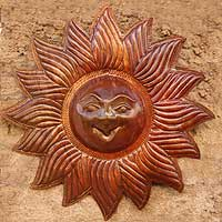 Copper wall sculpture, 'Laughing Sun' - Copper wall sculpture