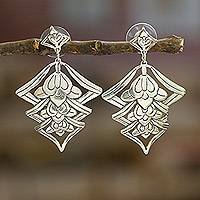 Sterling Silver Flower Earrings Floral Lanterns (mexico)