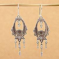 Sterling silver dangle earrings, 'Fortune' - Handcrafted Sterling Silver Chandelier Earrings