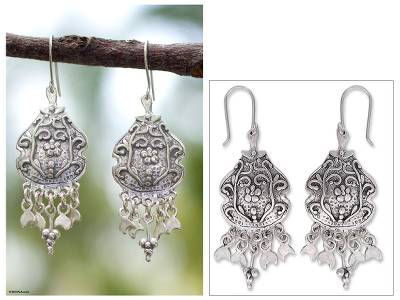 Sterling silver dangle earrings, 'Fiesta by Moonlight' - Sterling silver dangle earrings