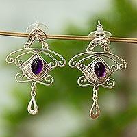 Amber dangle earrings,