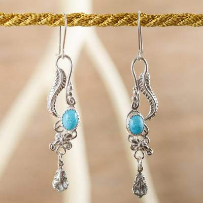 Turquoise dangle earrings, 'Daydream' - Fair Trade Floral Earrings of Silver with Natural Turquoise