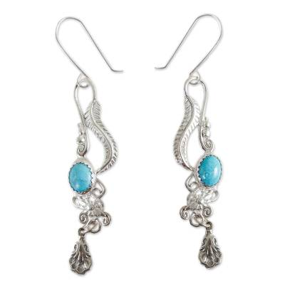 Fair Trade Floral Earrings of Silver with Natural Turquoise
